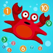 游戏对于儿童学习计数,以7种语言:学习数数字1-20的英语,中国,