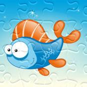 海拼图 - 拼图的游戏为儿童,幼儿和家长! 学习 有鱼,鳗鱼,蟹,鳖,水,海洋,鲨鱼幼儿园,学前班和幼儿园