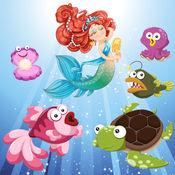 美人鱼和鱼类为幼儿和儿童:探索海洋!游戏的孩子和小女孩