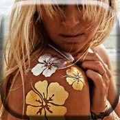 金色的纹身图案照片编辑器 - 美丽的珠宝和人体艺术贴纸图片拼贴创造者