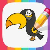 图画书 图片像企鹅,鸭子:鸟为儿童。 1
