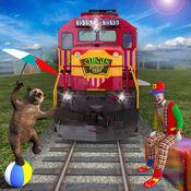 动物园动物运输火车司机和装载机