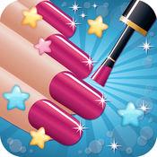 美甲沙龙美丽 - 女孩化妆化妆和游戏穿上盛装指甲艺术 & 指