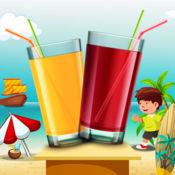 天然鲜榨果汁角:食品制造商教育游戏对于学校的男孩和女孩