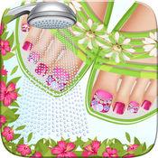 海边的脚沙龙女孩游戏美甲艺术美丽可爱的设计和修指甲的想法