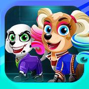 Paw Squad. 打扮狗作为超级英雄的的小狗为孩子们的游戏 时尚