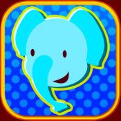大象和长颈鹿在天堂魔方拼图动物游行游戏