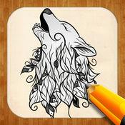 创意绘图 纹身狼