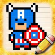 绘制像素的超级英雄人物