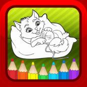 可爱的猫儿童图画书页 - 学习游戏为幼儿
