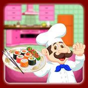 小厨师寿司制造商孩子烹饪:男孩和女孩
