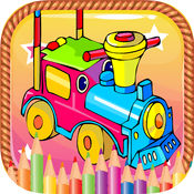 火车与飞机可打印着色页的孩子