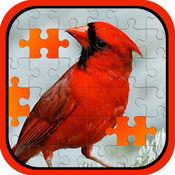 活泼的鸟魔术拼图游戏的孩子