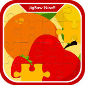 活泼的水果学习拼图游戏为孩子