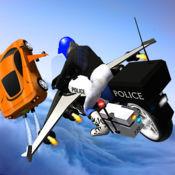 城市犯罪对飞行警察自行车车手罪行3D