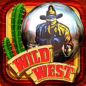 狂野西部弹球 - 机装备有脚蹼和左轮手枪生气俄勒冈州的牛仔!