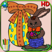 复活节涂色书的孩子 - 彩页,可与鸡蛋,兔,鸡和小鸡 1.1