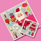 孩子们的图片拼图游戏—圣诞节里的圣诞老人和圣诞树 1