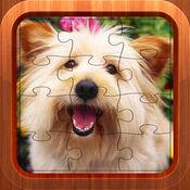 可爱的小狗拼图游戏为孩子-动物学习趣味运动会的