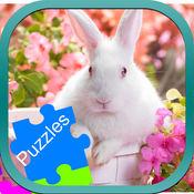 兔动物拼图拖放为孩子 1