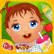 婴儿饲料及护理 - 健康食品和果汁的饥饿婴儿