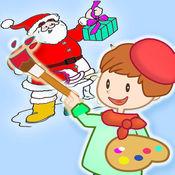 儿童圣诞节手指画涂色&图画书大全 - 圣诞老人 - 圣诞树和
