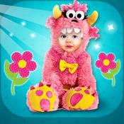 婴儿服装打扮 – 照片洞蒙太奇和面对编辑器与可爱的贴纸 1
