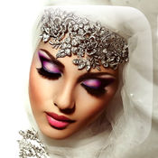 伊斯兰 头巾 和 化妝品 化妆 照片 蒙太奇