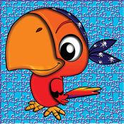 可爱的鸟和动物拼图 - 教育有趣的游戏为孩子和幼儿