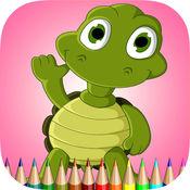 龟着色书儿童:学习色彩和画海龟多 1
