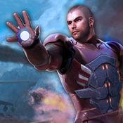 飞行超级英雄战斗真正的城市罪犯