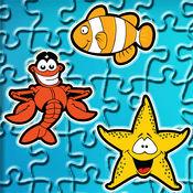 寻找可爱的鱼类和海洋动物卡通拼图 - 教育解决匹配游戏的孩子