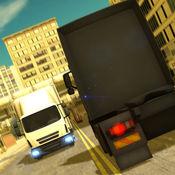 城市交通卡车驾...