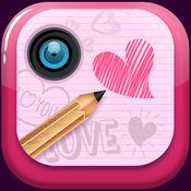 情人节涂鸦 - 绘制上图片和添加浪漫的心脏贴纸 1