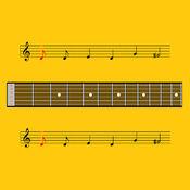 Guitar Notes: 练习阅读音乐笔记。火车阅读音乐笔记。学习