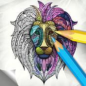 动物艺 - 最好填色画册 为成人 – 着色页应力消除疗法