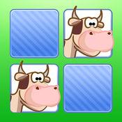 记忆游戏 农场动物 - 孩子和年幼的孩子孩子儿童游戏幼儿幼