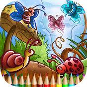 彩图昆虫和蜘蛛:学画画和颜色蜜蜂,蜘蛛等 1