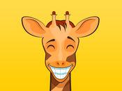 可爱的长颈鹿的表情符号的动物的贴纸消息 1