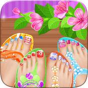 脚趾指甲 Spa 沙龙美丽公主的女孩-改造和游戏穿上盛装指甲