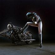 摩托车女孩高清壁纸收藏图库:个性名言主题背景 1