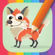 动物着色书为孩子:孩子们学画。 1