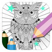 猫头鹰:为成人发现魔法着色页 1.1