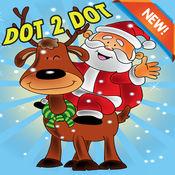 脑点图画书 - 圣诞节和圣诞老人着色页幼儿园学习教育点游
