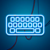 LED灯键盘 – 发光的霓虹灯键盘的主题和五颜六色的字体为i