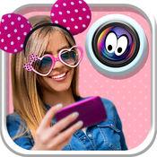 可爱的贴纸相机女孩:Selfie图片装饰与甜姐照片蒙太奇