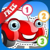 免费 儿童拼图 教我用汽车追踪&数数:学习赛车需要的轮胎,汽