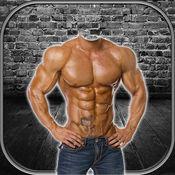 六块腹肌的照片蒙太奇 – 与男人健美的专业编辑即时强腹肌