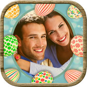 复活节巧克力彩蛋兔子相框贴纸 (趣味贯蛋照片编辑器图片节