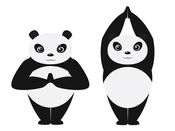 熊猫 瑜伽 貼紙 大 1